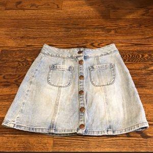Brandy Melville denim jean skirt button front 23